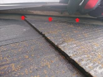 防水制帽が失われている化粧スレート葺き屋根は棟板金が劣化している事が多い