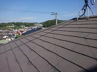 屋根表面の塗膜の劣化の影響で端部に雨水を吸い込んだ染みの跡が散見されます