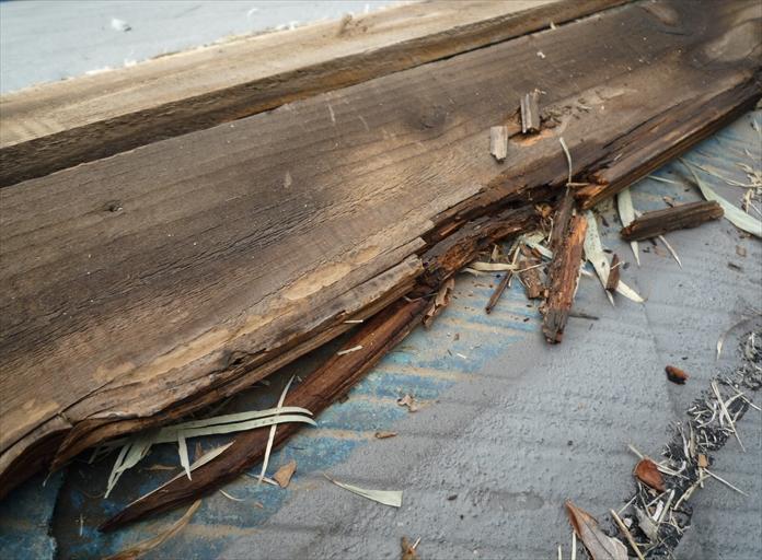 寒川町岡田で飛散したスレート屋根の棟は、貫板が腐食していることが分かりました