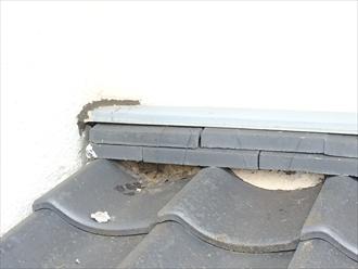 海老名市社家でセメント瓦の隙間に詰められている漆喰が無くなっておりました