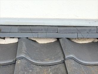 雨押えに使用されている漆喰に劣化の傾向