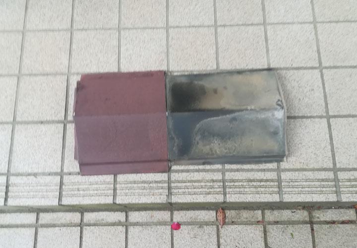 横浜市都筑区にて板金が飛散し貫板がむき出しの状態は屋根内部の劣化に繋がります
