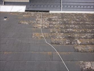よく見ると黄色く染まり切っている所と、そうでもない所が混在している増築した屋根に使われていた化粧スレート