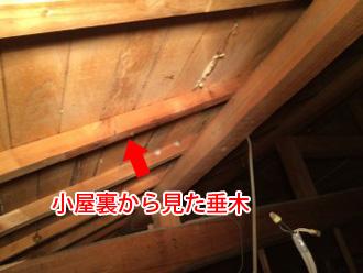 小屋裏から見た垂木