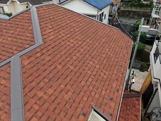 寒川町大曲で令和元年房総半島台風により破損したスレート屋根を、オークリッジスーパー(テラコッタブレンド)で屋根カバー工事