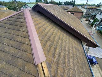 台風15号の被害を受けたスレート屋根