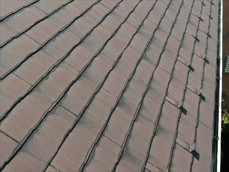 鎌倉市御成で過去に塗装をしたスレート屋根の点検、塗膜の劣化と棟板金の釘抜けが見つかりました