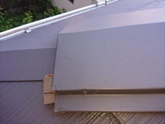 下屋根の隅棟も内部の貫板の腐食が見受けられます