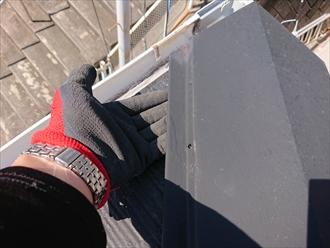 大和市桜森にて強風により貫板を残したまま棟板金が飛散してしまいました