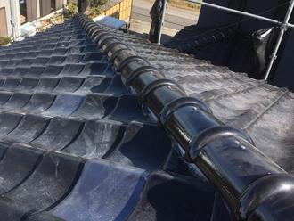 横浜市鶴見区馬場にて令和元年房総半島台風で棟が破損、棟瓦取り直し工事で復旧