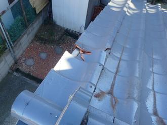 ケラバ付近の瓦にひび割れが発生