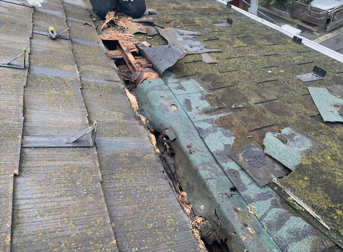 屋根がフニャフニャして陥没