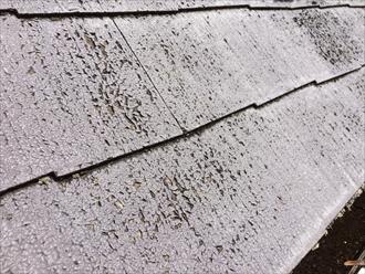 茅ヶ崎市松林の急勾配屋根、スレートの表面に塗られた塗膜が剥がれ出しておりました