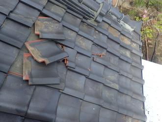 台風による瓦の被害 ズレや破損が見られました