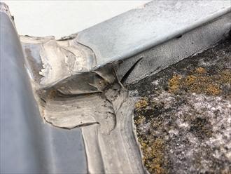 寒川町一之宮で屋根に打たれているコーキングの点検、コーキングが切れていると雨漏りの危険性があります
