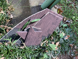 台風通過後、庭先に落下していたスレート