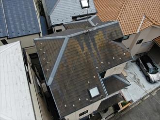 横浜市磯子区洋光台で3階建てのスレート屋根を、ファインパーフェクトベストで塗装しました