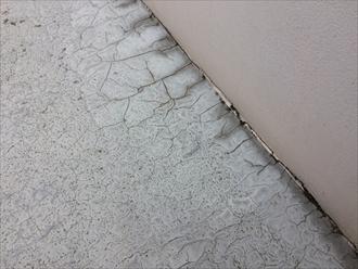 FRP防水層の表面が変形している