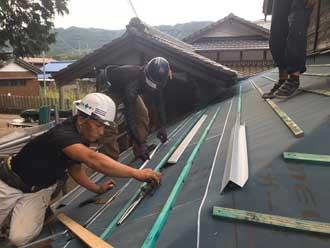屋根葺き替え工事 瓦桟設置