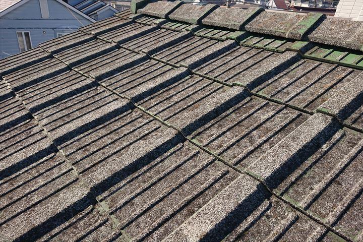 塗装が剝がれた屋根材には苔も生えています