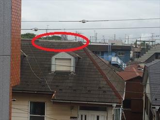 上空からの画像で棟板金の飛散を確認しました