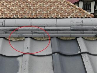 棟合を束ねている銅線が切れてます