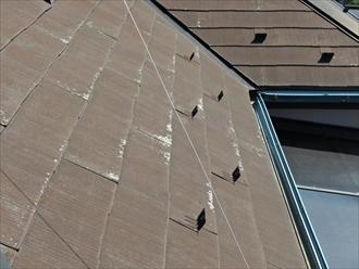 横浜市旭区中白根で過去に塗装したスレートの点検、表面が白く見えるのは塗膜が剥がれているからです