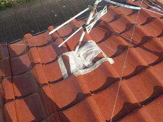 破損した瓦は応急処置が施されていました