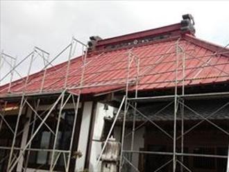 寺社仏閣の屋根工事の足場仮設