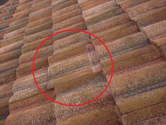 軒から棟への中腹あたりにズレてしまっている箇所を見つけました