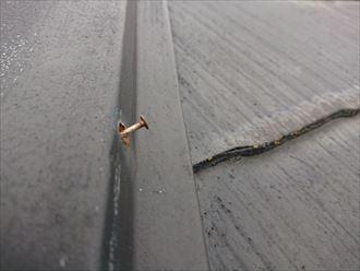 釘が浮いて固定が弱まっている棟板金