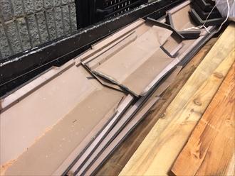 棟板金とその貫板を撤去