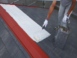 三角屋根の塗装工事