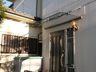 玄関庇の交換 LIXILのクリアルーフ取り付け完了