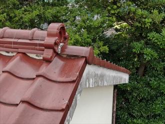 棟瓦に詰められている漆喰が無くなっている