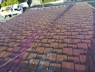 藻や汚れの目立つアーバニーのスレート屋根