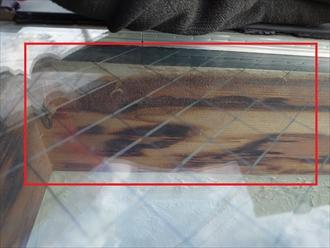屋根上から分かる木枠の腐食