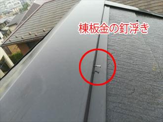 棟板金を固定していた釘が経年で浮いてきている