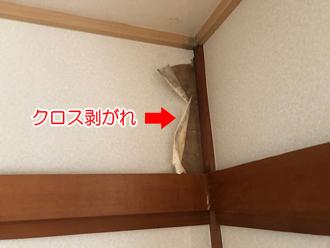 壁面のクロスが剥がれている