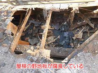 屋根の野地板が腐食している